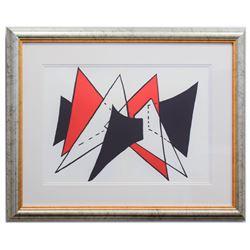 "Alexander Calder- Lithograph ""DLM141 - Triangles rouges"""