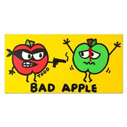 """Todd Goldman, """"Bad Apple"""" Original Acrylic Painting on Gallery Wrapped Canvas, Hand Signed with Cert"""