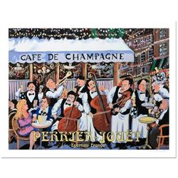 """Guy Buffet, """"Cafe De Champagne"""" Serigraph on Paper"""