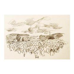 "Wayne Ensrud ""Chateau Meursault, Burgundy"" Pencil Original Artwork; Hand Signed; COA"