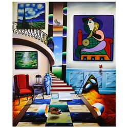 """Ferjo, """"Reading Room"""" Original Painting on Canvas, Hand Signed with Letter of Authenticity."""