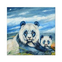 """Martin Katon, """"Sky Blue Pandas"""" Original Oil Painting on Canvas, Hand Signed with Certificate of Aut"""