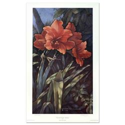"""Diane Garrick Scholze, """"Paradise Garden-Amaryllis"""" Limited Edition Lithograph, Numbered and Hand Sig"""