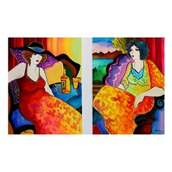 "Patricia Govezensky- Set of Two Original Watercolors ""Night in Paris"""