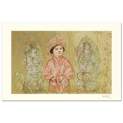 """Willie and Two Quan Yins"" Limited Edition Lithograph by Edna Hibel (1917-2014), Numbered and Hand S"
