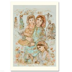 """Family in the Field"" Limited Edition Lithograph by Edna Hibel (1917-2014), Numbered and Hand Signed"