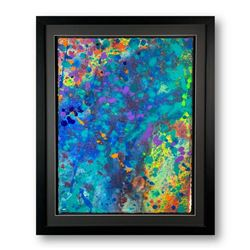 "Wyland, ""Abstract"" Hand Signed Original Painting on Paper with Letter of Authenticity."