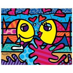 "Romero Britto ""New Deeply In Love"" Hand Signed Giclee on Canvas; Authenticated"