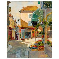 """Marilyn Simandle, """"Cobblestone Village"""" Limited Edition on Canvas, Numbered and Hand Signed with Let"""