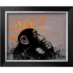 """Banksy """"Thinker Monkey"""" Custom framed"""