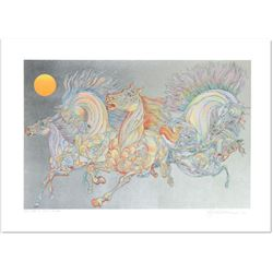 """Guillaume Azoulay- Serigraph on paper with hand laid silver leaf  """"Lever De Soleil"""""""