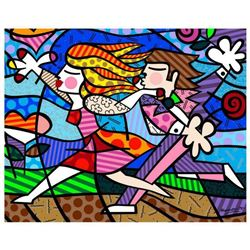 """Romero Britto """"New Love Blossoms"""" Hand Signed Giclee on Canvas; Authenticated"""