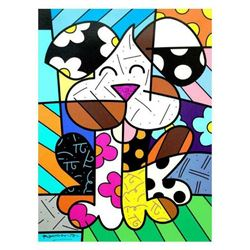 """Romero Britto """"Andy"""" LARGE Hand Signed Limited Edition Giclee on Canvas; Authenticated"""