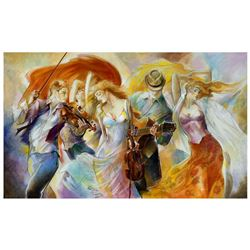 """Lena Sotskova, """"Happiness"""" Hand Signed, Artist Embellished Limited Edition Giclee on Canvas with COA"""