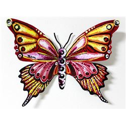"Patricia Govezensky- Original Painting on Cutout Steel ""Butterfly CXCVIII"""