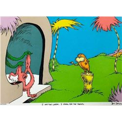 """Dr. Seuss- Lithograph on B.F.K. Rives Paper """"I AM THE LORAX, I SPEAK FOR THE TREES"""""""