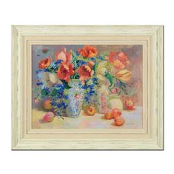 "S. Burkett Kaiser, ""Tulips & Peaches"" Framed Limited Edition on Canvas, Numbered 43/95 and Hand Sign"