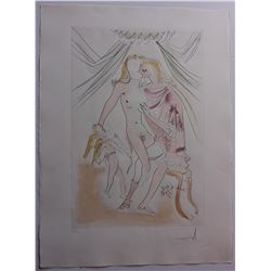 "Salvador Dali- Original Engravings with Color ""Venus, Mars et Cupidon"""