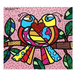 "Romero Britto ""Love Birds (Pink)"" Hand Signed Limited Edition Giclee on Canvas; Authenticated"