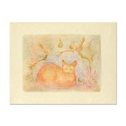 """Edna Hibel (1917-2014), """"Pumbit the Cat"""" Limited Edition Lithograph on Rice Paper, Numbered and Hand"""