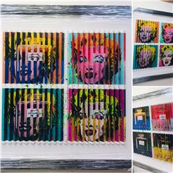 """E.M. Zax- One-of-a-kind 3D polymorph mixed media on paper """"Hommage to Warhol"""""""
