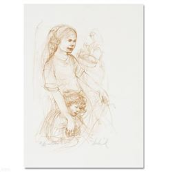 """Small Breton Woman with Child"" Limited Edition Lithograph by Edna Hibel (1917-2014), Numbered and H"