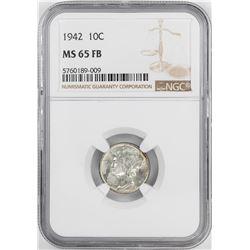 1942 Mercury Dime Coin NGC MS65FB