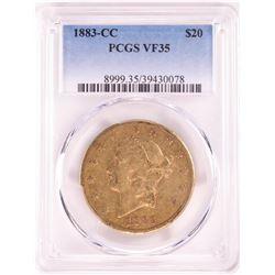 1883-CC $20 Liberty Head Double Eagle Gold Coin PCGS VF35