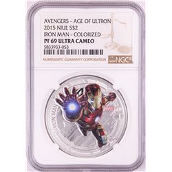 2015 Niue $2 Proof Avengers Age of Ultron Iron Man Silver Coin NGC PF69 Ultra Cameo