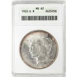1922-D $1 Peace Silver Dollar Coin ANACS MS62