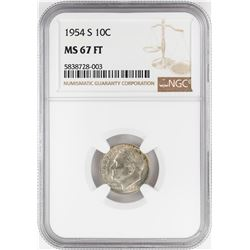 1954-S Roosevelt Dime Coin NGC MS67FT