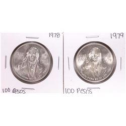 Lot of (2) Mexico 100 Pesos Silver Coins