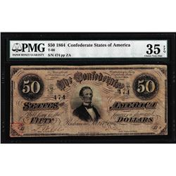 1864 $50 Confederate States of America Note T-66 PMG Very Fine 35EPQ Low Serial Number