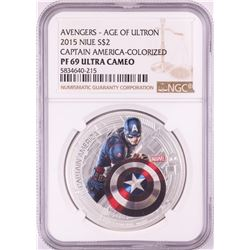2015 Niue $2 Proof Avengers Age of Ultron Captain America Silver Coin NGC PF69 Ultra Cameo
