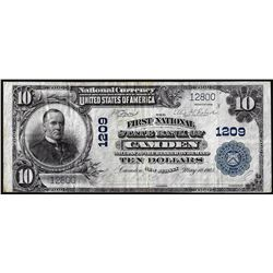 1902 PB $10 First National State Bank of Camden, NJ CH# 1209 National Currency Note