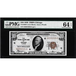 1929 $10 Federal Reserve Bank Note Chicago Fr.1860-G PMG Choice Uncirculated 64EPQ