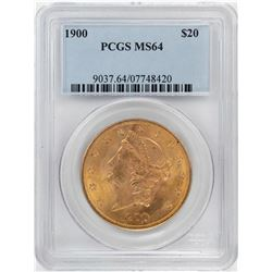 1900 $20 Liberty Head Double Eagle Gold Coin PCGS MS64