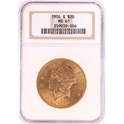 1904-S $20 Liberty Head Double Eagle Gold Coin NGC MS61