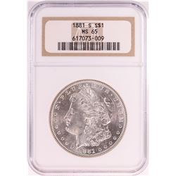 1881-S $1 Morgan Silver Dollar Coin NGC MS65 Old Holder