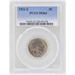 1921-S Buffalo Nickel Coin PCGS MS64