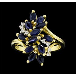 14KT Yellow Gold Ladies 1.50 ctw Sapphire and Diamond Waterfall Ring