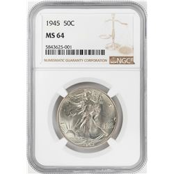 1945 Walking Liberty Half Dollar Coin NGC MS64