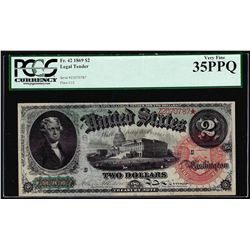 1869 $2 Rainbow Legal Tender Note Fr.42 PCGS Very Fine 35PPQ