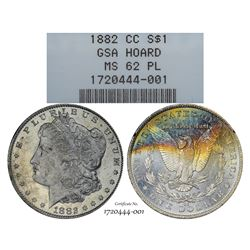 1882-CC $1 Morgan Silver Dollar Coin GSA Hoard NGC MS62 Proof Like Amazing Toning