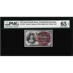 1863 10 Cent 4th Issue Fractional Currency Note Fr.1259 PMG Choice Uncirculated 65EPQ