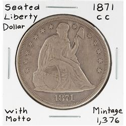 1871-CC with Motto $1 Seated Liberty Silver Dollar Coin