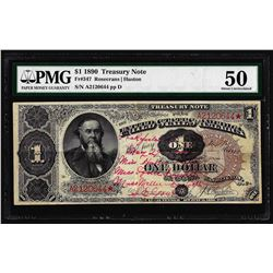 1890 $1 Treasury Note Fr.347 PMG About Uncirculated 50