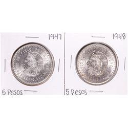 Lot of 1947-1948 Mexico Cuauhtemoc Cinco Pesos Silver Coins