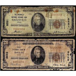 Lot of (2) 1929 $20 Dallas & Greenville, Texas CH# 8581/3623 National Currency Notes