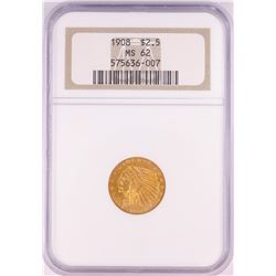 1908 $2 1/2 Indian Head Quarter Eagle Gold Coin NGC MS62